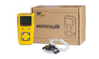Detector de gás MicroClip X3, com caixa e acessórios.