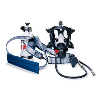 Respirador Hip Pac, com cilindro auxiliar para fuga.